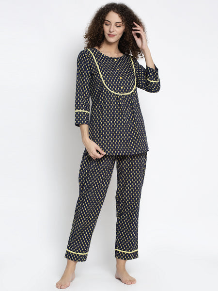 Aujjessa Navy Lime Cotton Printed Night Suit