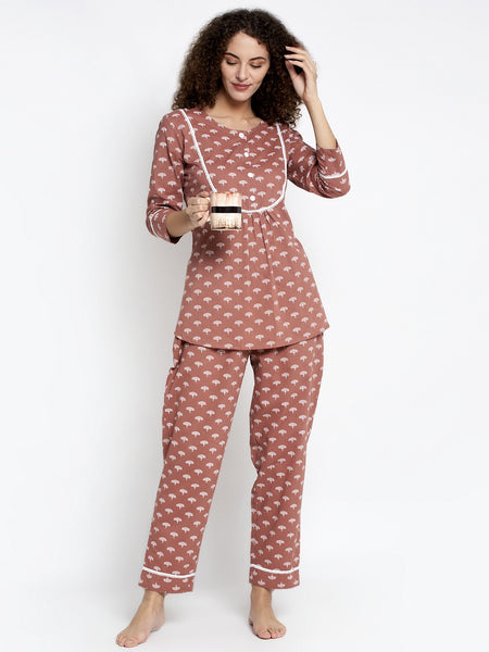 Aujjessa Light Brown Cotton Printed Night Suit
