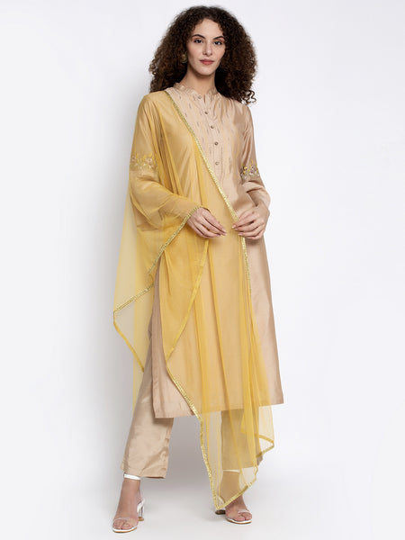 Aujjessa Faun Embroidered Silk Kurta Trouser & Dupatta Set