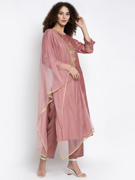 Aujjessa Onion Embroidered Silk Kurta Trouser & Dupatta Set