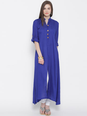 Aujjessa Royal Blue A-Line Kurta with Front Slit