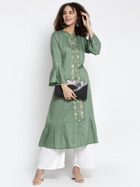 Aujjessa Green Embroidered Rayon Kurta