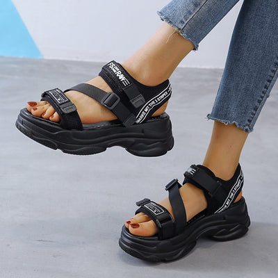 5cm/1.95 inch Height Flat Platform Sandals Thick Bottom Women's Fashion Shoes Woman