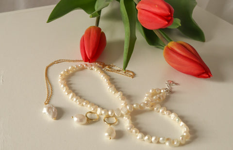 Pearl Necklaces and Earrings