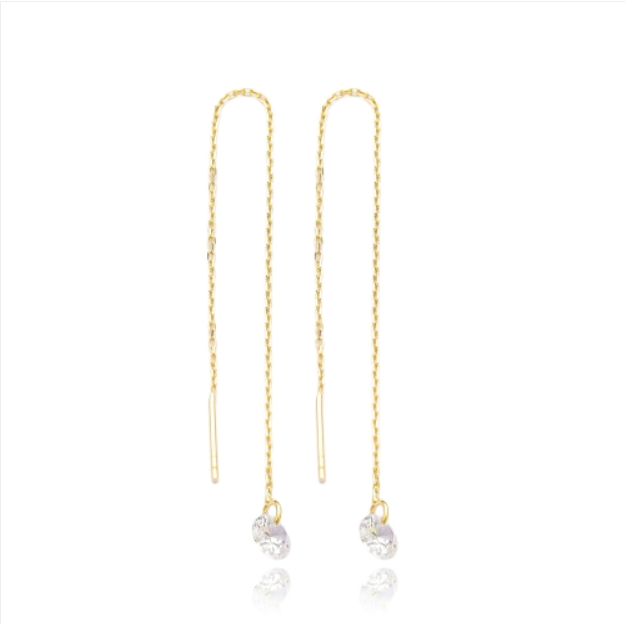 Gem Threader Earrings - White