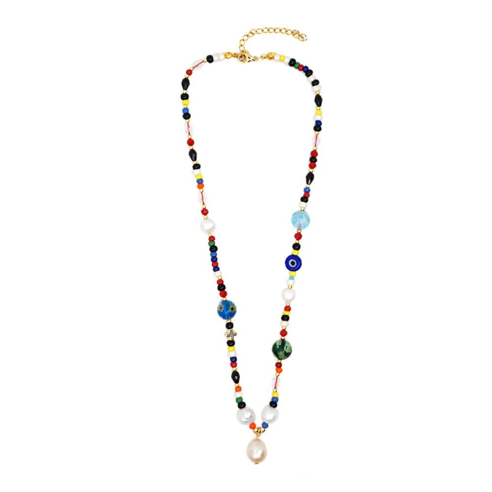 Beaded Necklace with Pearl