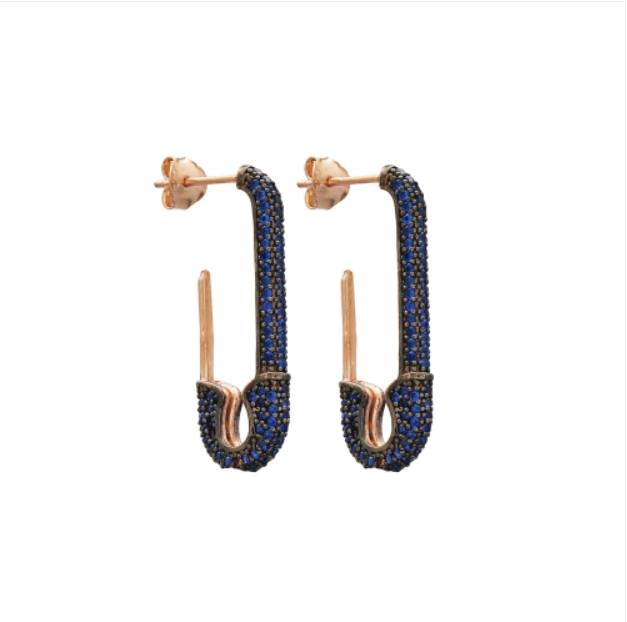 Safety Pin Earrings - Sapphire