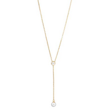 Load image into Gallery viewer, Gold and Zircon Necklace with Pearl Drop