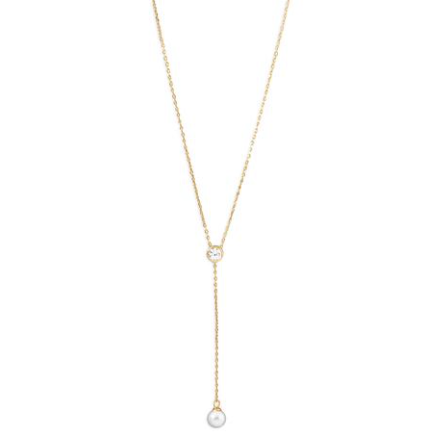 Gold and Zircon Necklace with Pearl Drop