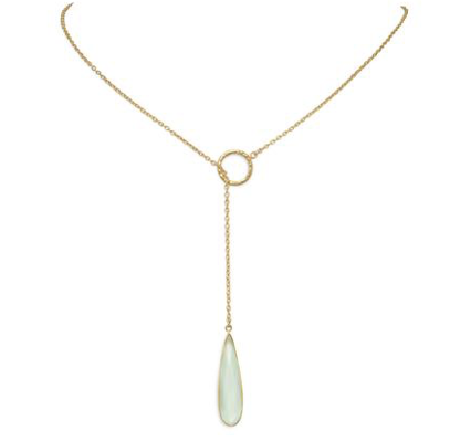 Lariat Necklace with Chalcedony Drop