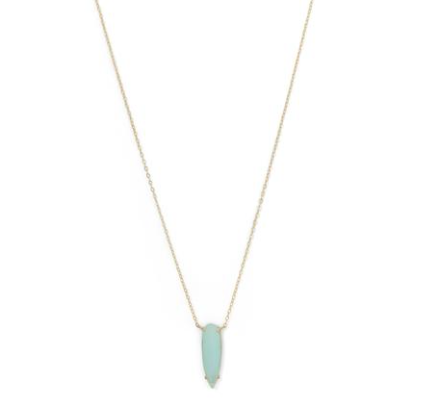 Green Glass Drop Necklace