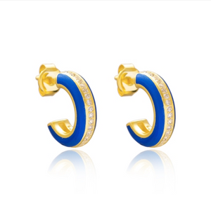 Enamel and Jewel Hoop Earrings - Blue