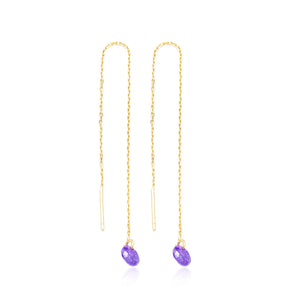 Threader Earrings Amethyst