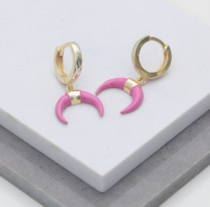 Lila Enamel Drop Earrings - Pink