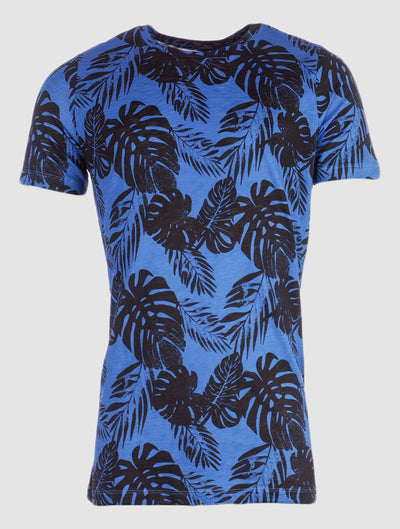 T-shirt matt leaves blauw