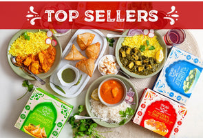 TOP SELLERS - Chicken Tikka Masala, Spinach Paneer, Chicken Curry, Potato & Pea Samosas