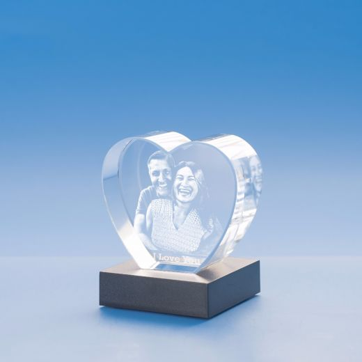 3D Heart Cut Crystal