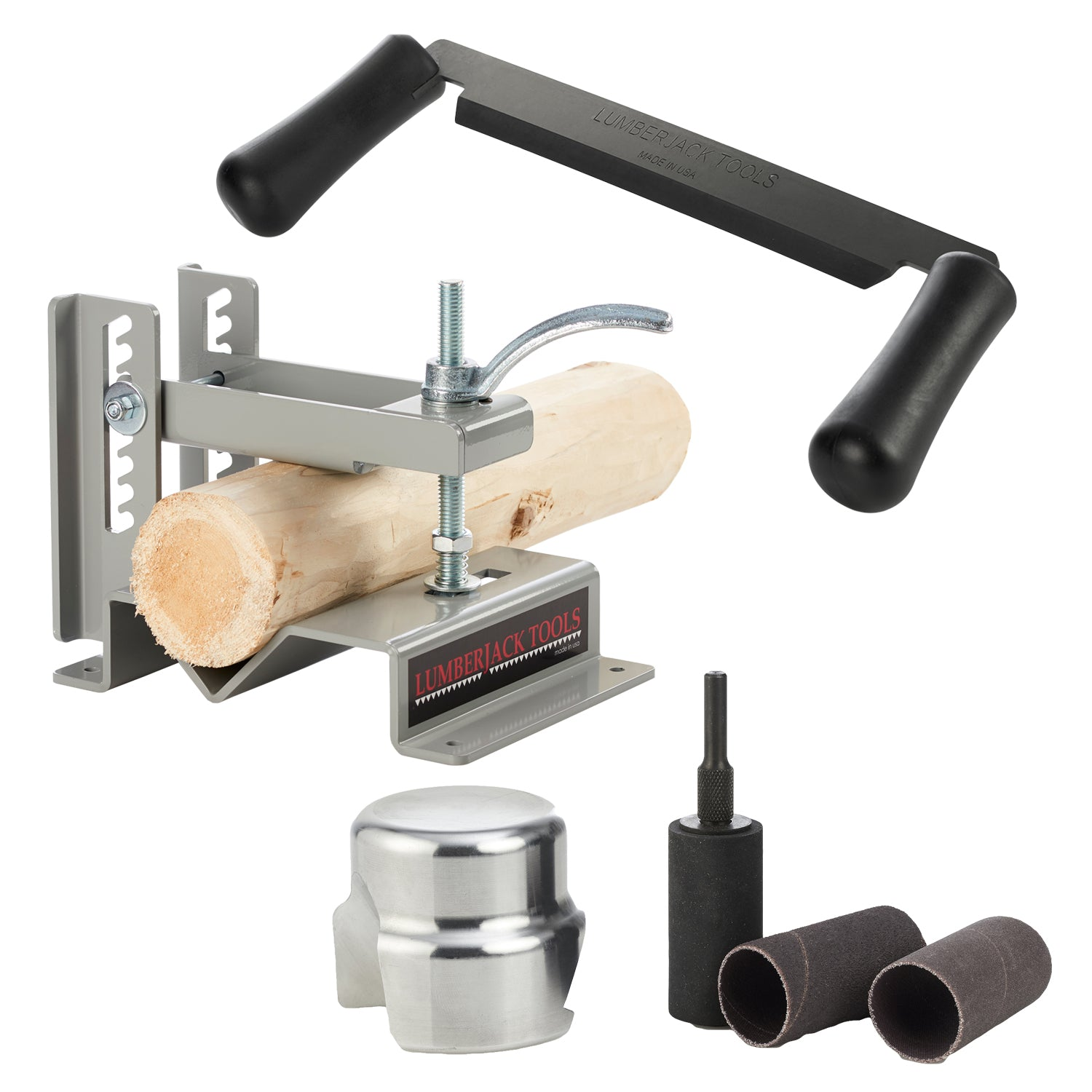 Log Furniture Beginner's Accessory Kit - Log Lock, Draw Knife and Blade Sharpening Jig