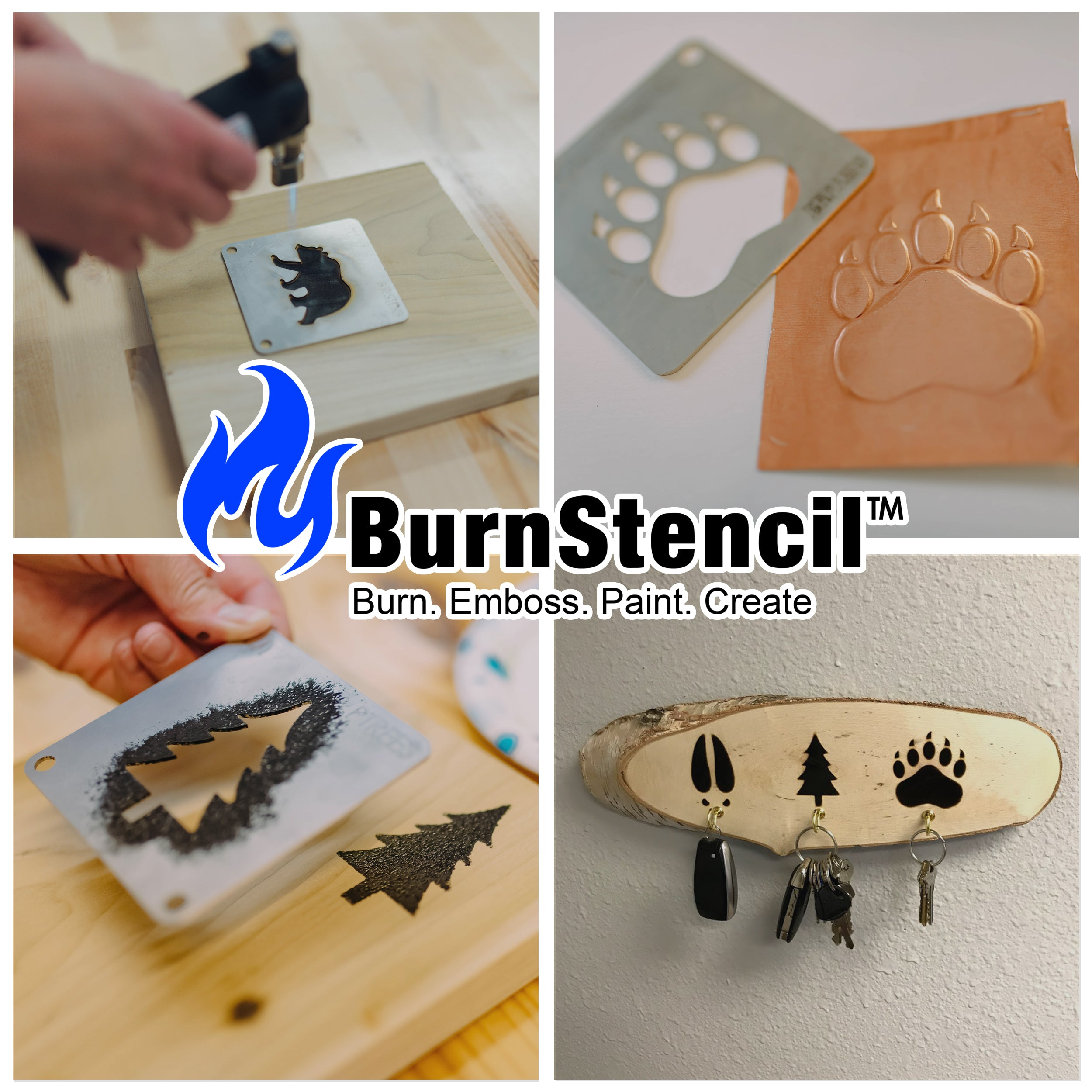 BurnStencil™ - Tracks & Antlers 3 Pack