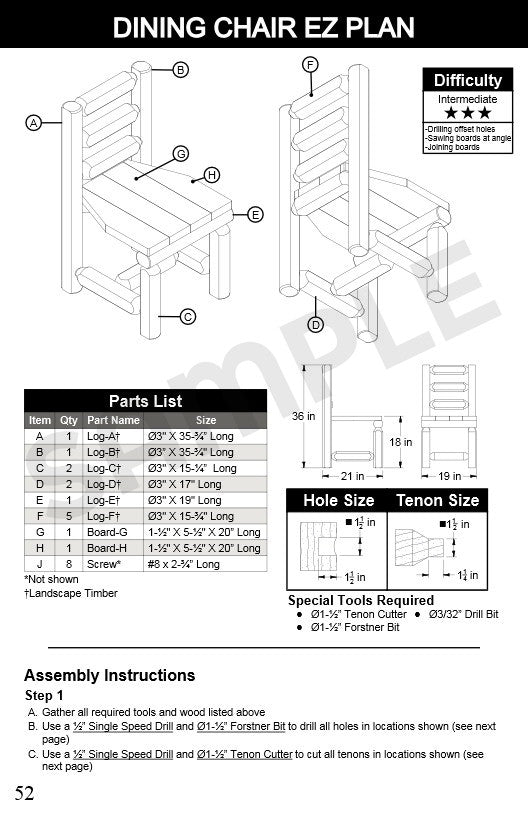 20 Log Furniture Plans Booklet Lumberjack Tools