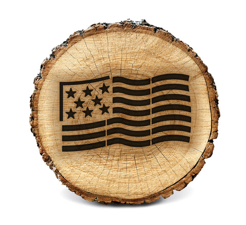 Wood Burning Stencil - US Flag (Waving)
