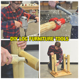 Image collage of a man cutting mortise and tenon then putting together a small table