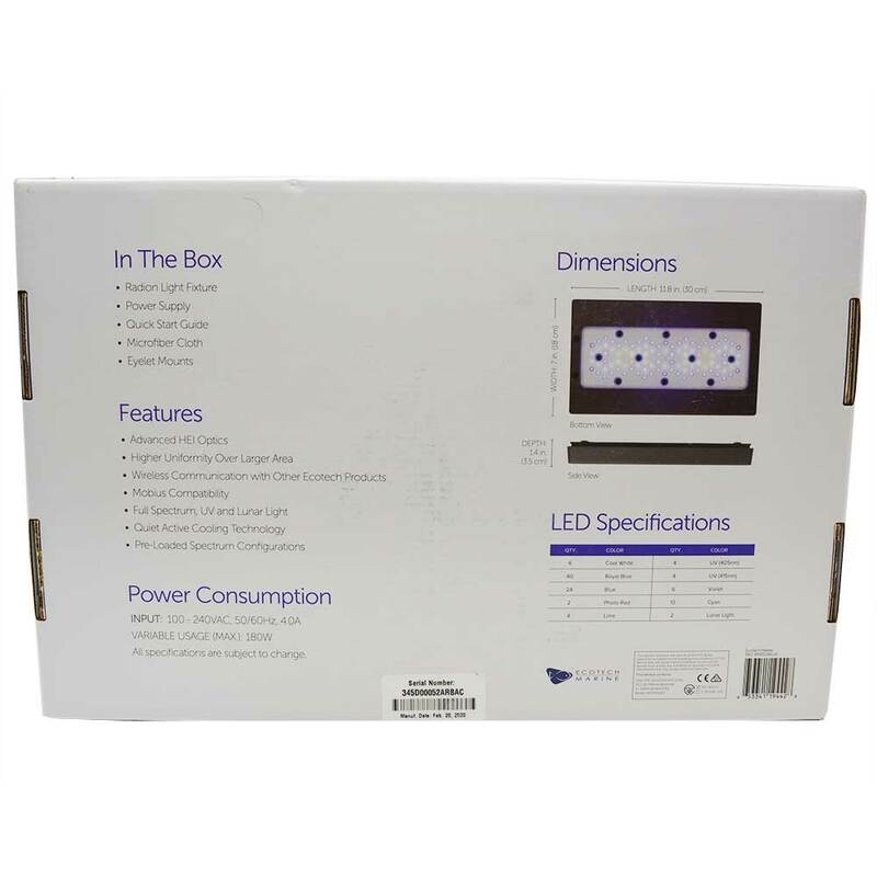 EcoTech Marine Radion XR30W G5 Blue Aquarium LED Light Fixture