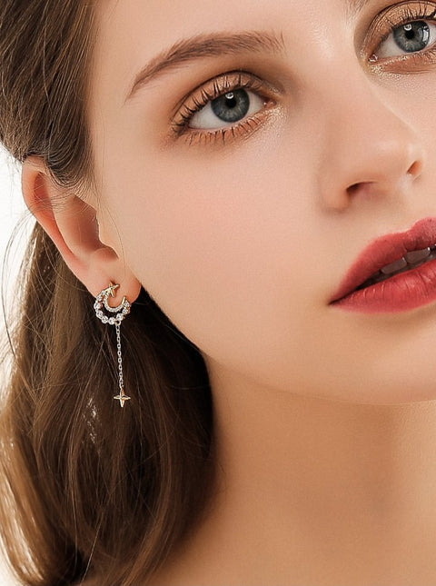 Crescent Moon and Stars Earrings - Prime Adore