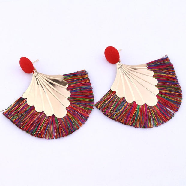 Fan-shaped Tassel Earrings - Prime Adore