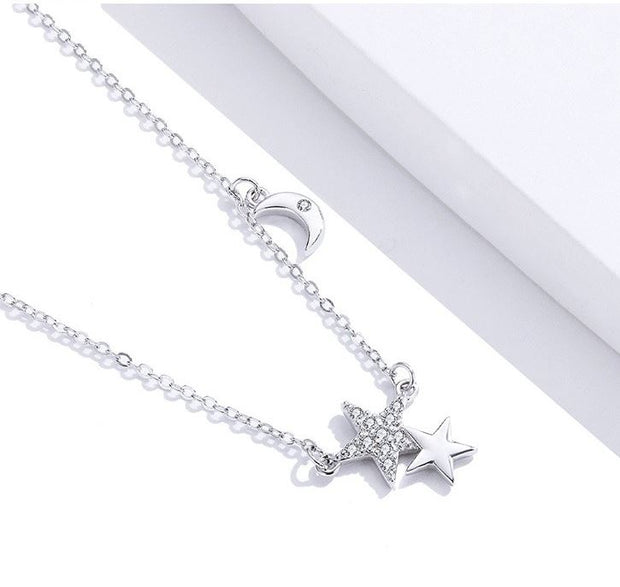 Double Star Moon Necklace - Prime Adore
