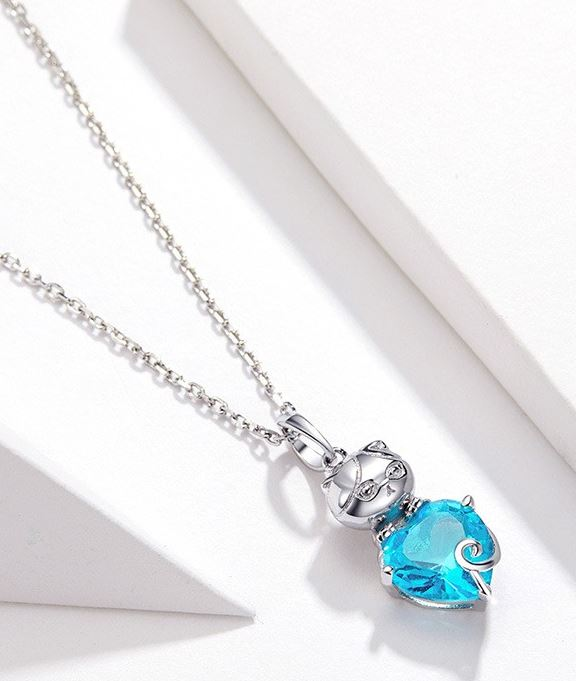 Blue Heart Kitty Necklace - Prime Adore