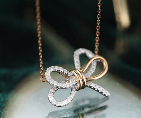 Double Ribbon Butterfly Necklace - Prime Adore