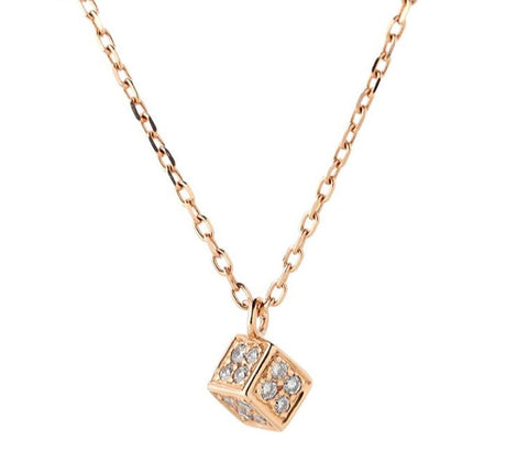 Geometric Golden Cube Necklace - Prime Adore