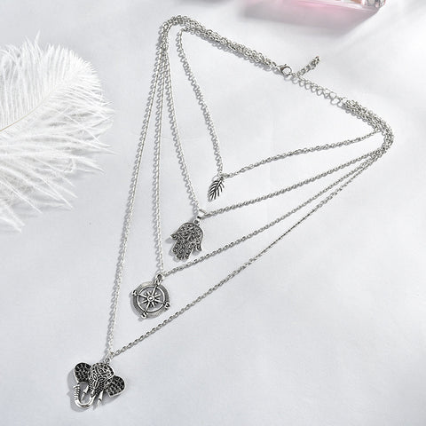 Silver Elephant Necklace Layers - Prime Adore