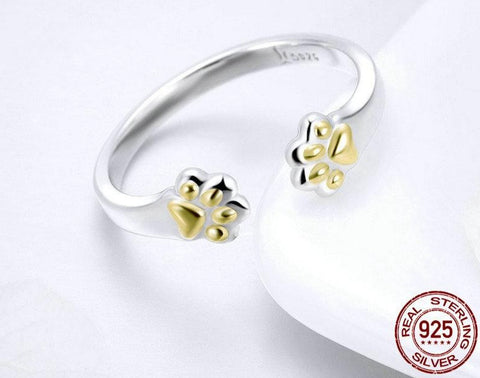 Golden Kitten Paws Adjustable Ring - Prime Adore