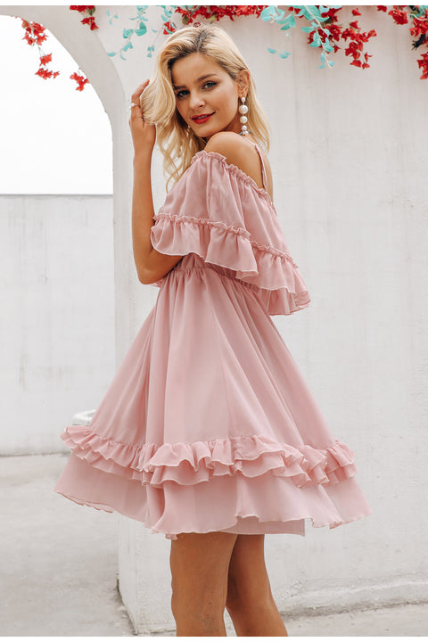 Ruffle Off Shoulder Dress - Prime Adore