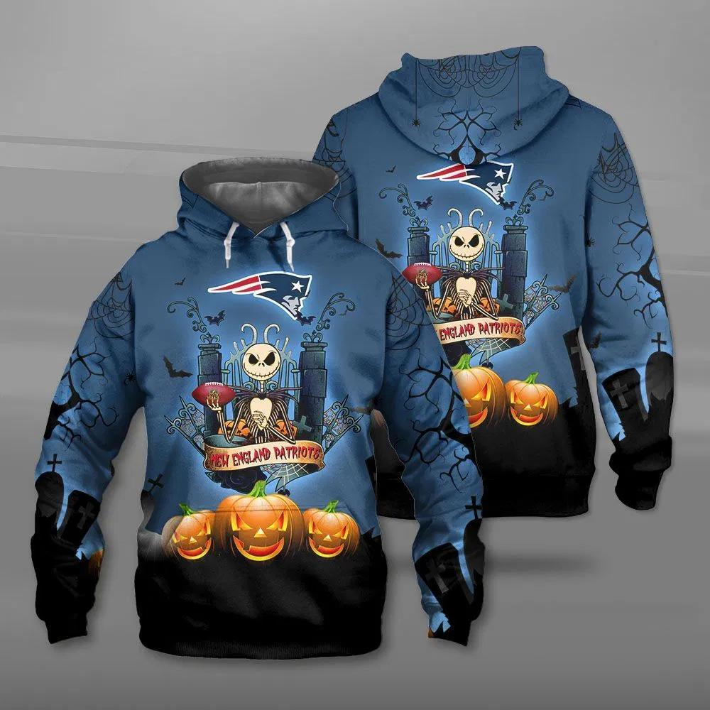 New England Patriots Halloween Costume Hoodies Jack Skellington 3D Graphic
