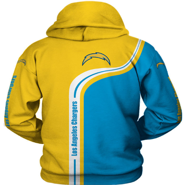 Los Angeles Chargers 3D Printed Hooded Pocket Pullover Hoodie