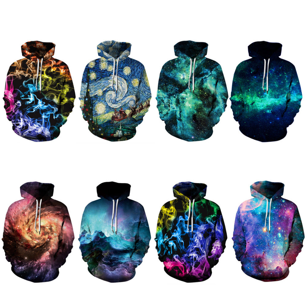 Skull smoke 3D digital printing hoodies
