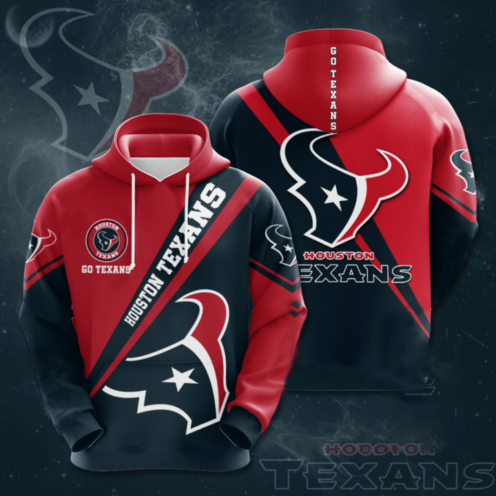 Houston Texans 3D Printed Hooded Pocket Pullover Hoodie