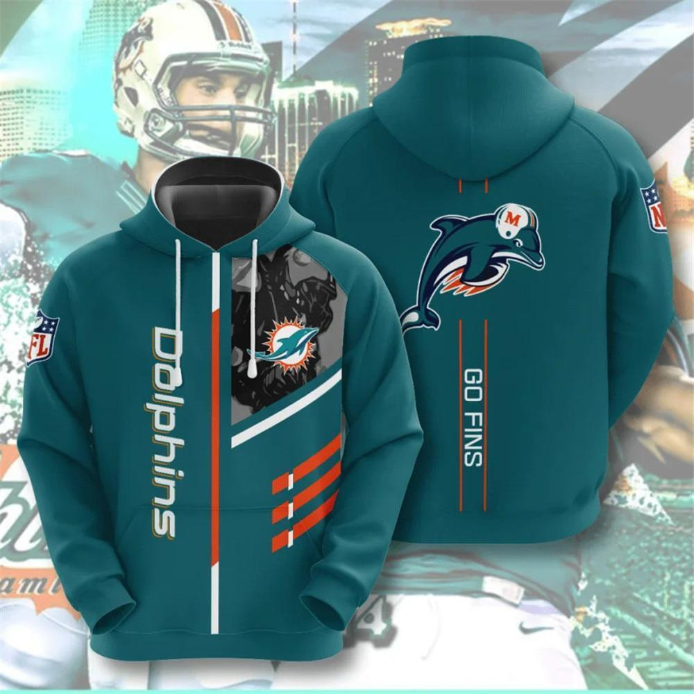Miami Dolphins 3D Printed Hooded Pocket Pullover Hoodie