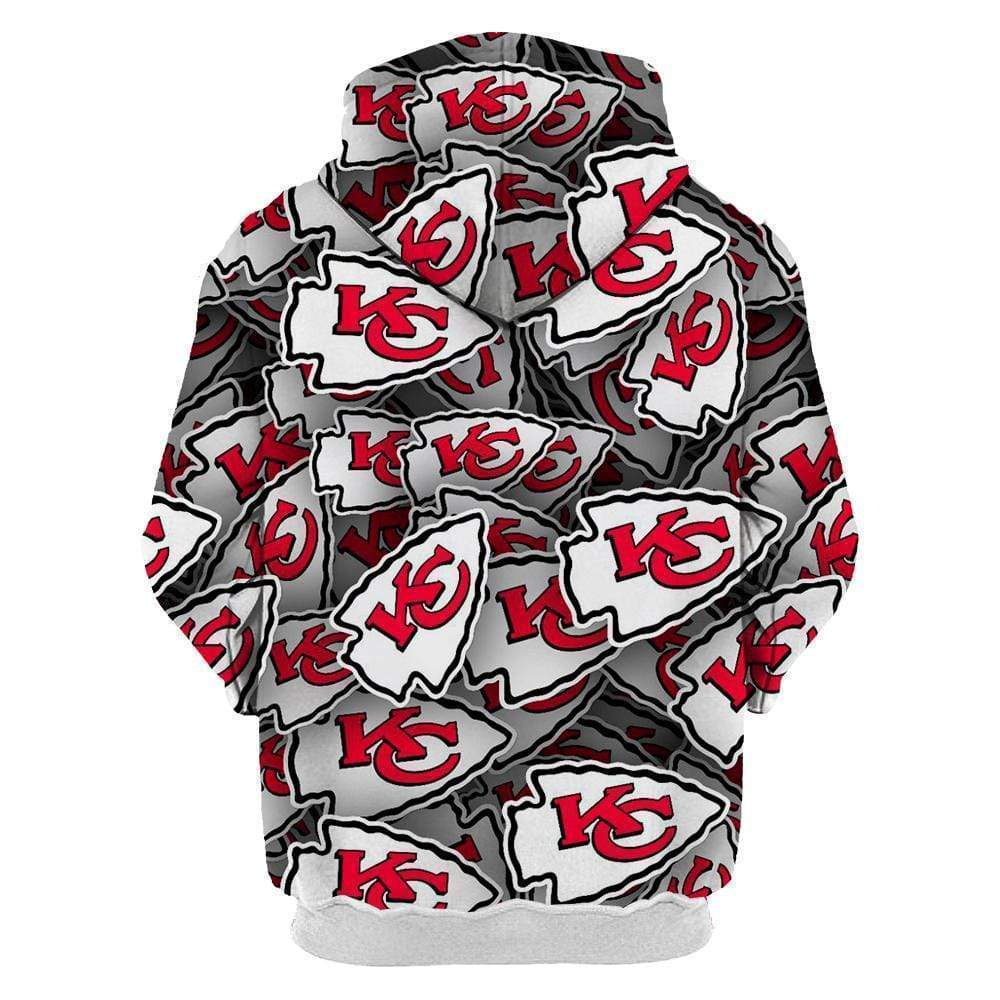 3D Kansas City Chiefs Printed Hooded Pocket Pullover Sweater