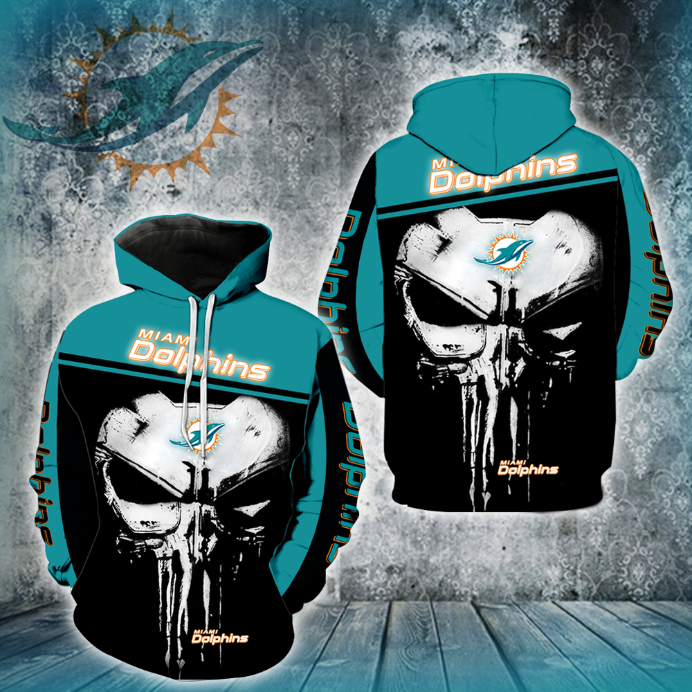 Miami Dolphins Punisher Skull  Full All Over Printed Hoodie