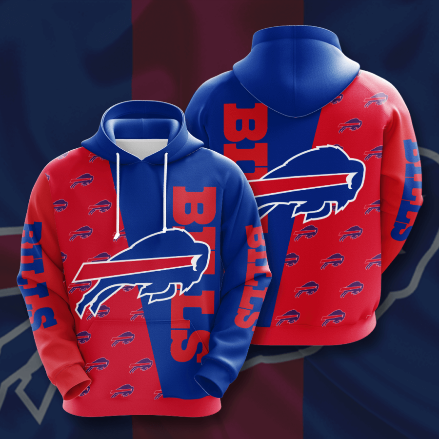 Buffalo Bills 3D Printed Hooded Pocket Pullover Hoodie