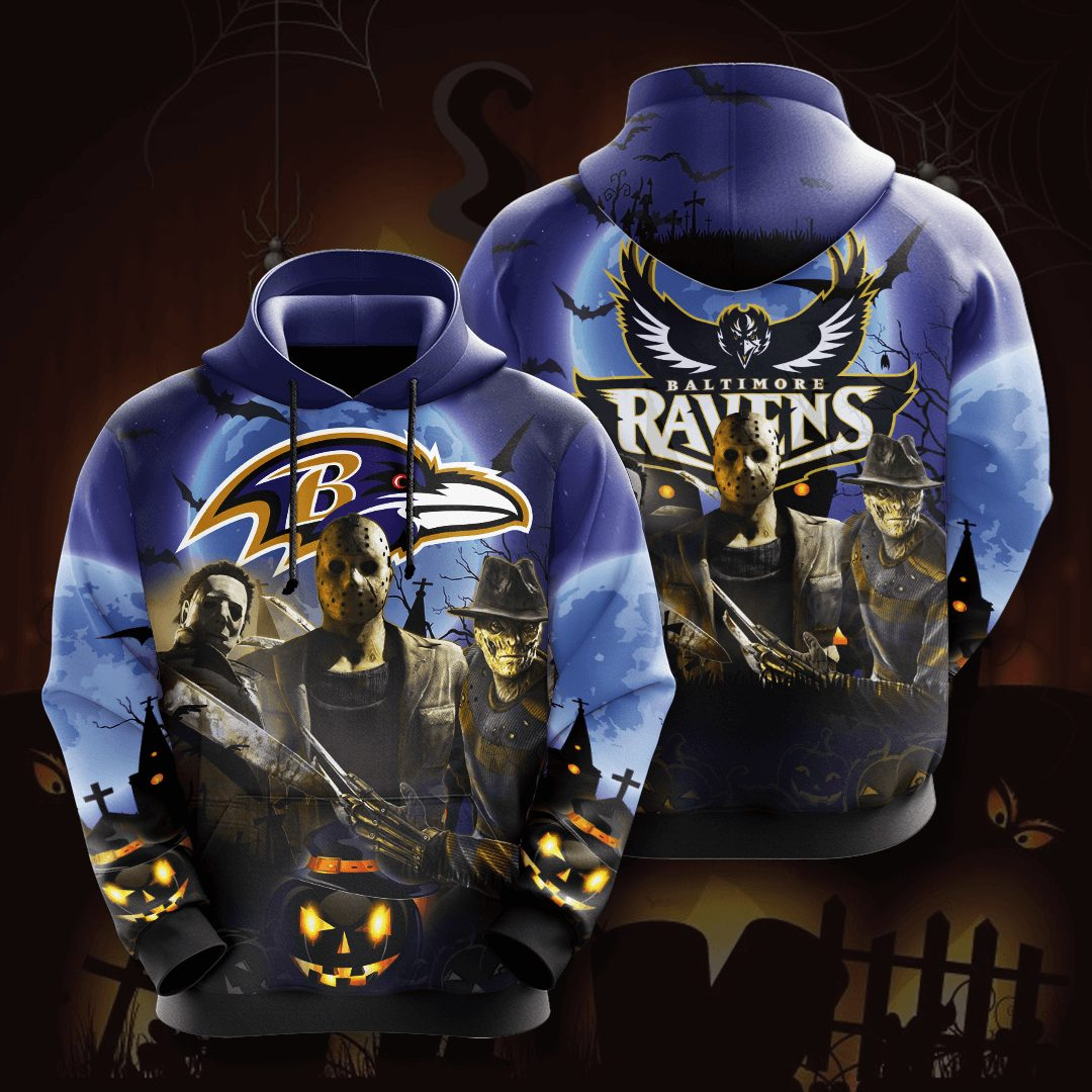 Baltimore Ravens 3D Printed Hooded Pocket Pullover Hoodie