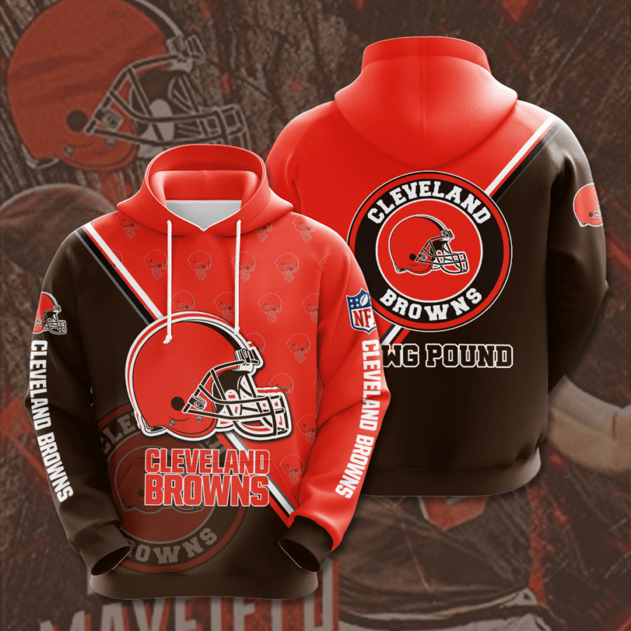 Cleveland Browns 3D Printed Hooded Pocket Pullover Hoodie
