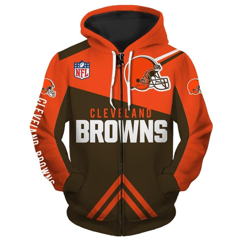 Cleveland Browns Zip Hoodies 3D Long Sleeve With Hooded
