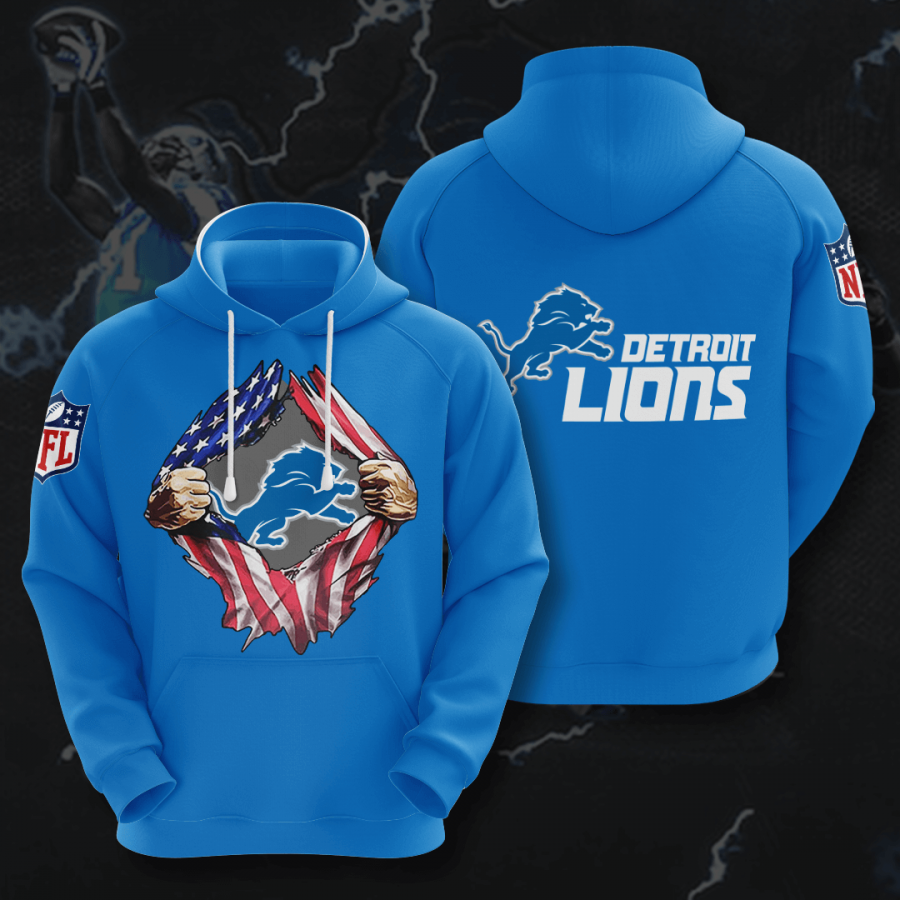 Detroit Lions 3D Printed Hooded Pocket Pullover Hoodie