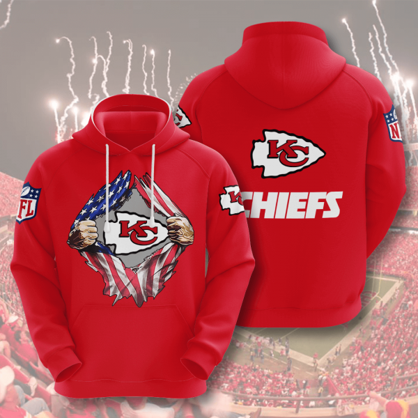 Kansas City Chiefs 3D Printed Hooded Pocket Pullover Hoodie