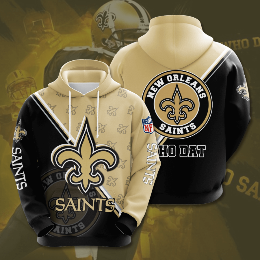 New Orleans Saints 3D Printed Hooded Pocket Pullover Hoodie